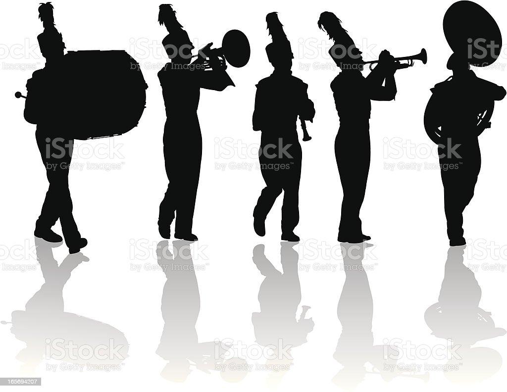 Blaskapelle Silhouetten Trompete, Schlagzeug, Flöte, Mellophone – Vektorgrafik