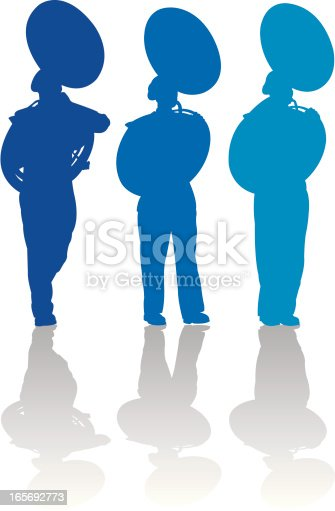 Tight graphic silhouette illustrations of the Sousaphone players in a Marching Band. Use with or without the plume. Scale to any size, color changes a snap. Check out my