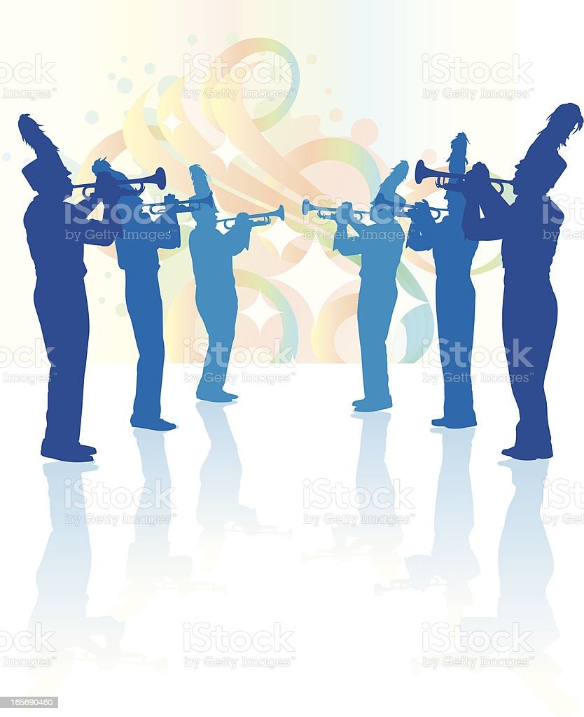 Marching Band Trumpet Line Background vector art illustration