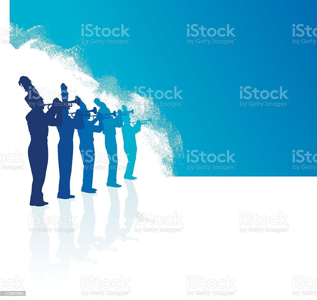 Blaskapelle Trompete Linie blauem Hintergrund – Vektorgrafik