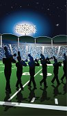 Marching Band Trumpet Line Under Stadium Lights Background. Tight graphic silhouette illustrations of the trumpet line in a Marching Band Under Stadium Lights. Use with or without the plume. Scale to any size. Check out my 'Marching Band Vector' light box for more.