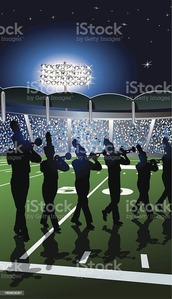 Blaskapelle Trompete Zeile im Stadion Lichter – Vektorgrafik