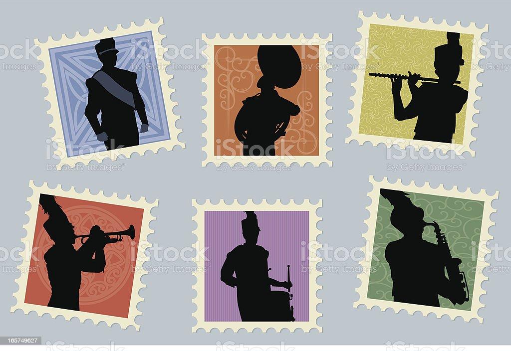 Blaskapelle-Trompete, Saxophon, Schlagzeuger Briefmarken – Vektorgrafik