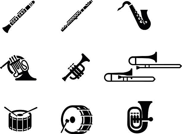 zestaw ikon wektora zespołu marszowego - instrument muzyczny stock illustrations