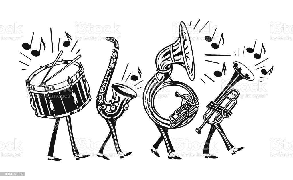Marching Band Stock Illustration - Download Image Now