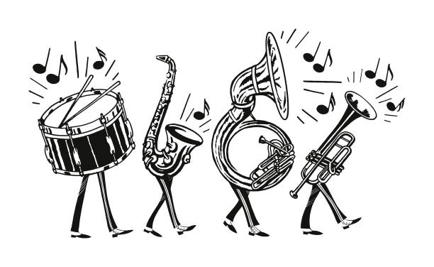 stockillustraties, clipart, cartoons en iconen met marching band - blaasinstrument