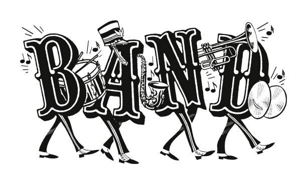 marching band - talerz perkusyjny stock illustrations
