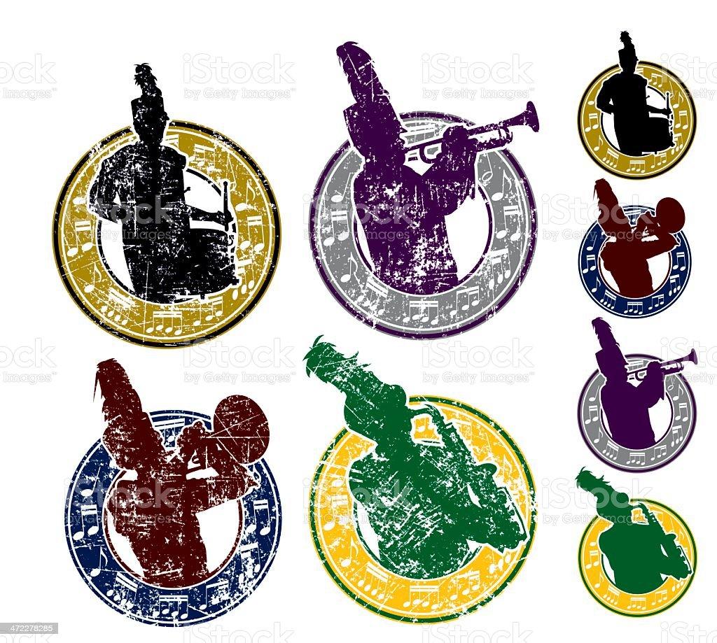 Blaskapelle mit musikalischen Notizen und Grunge-Grafiken – Vektorgrafik