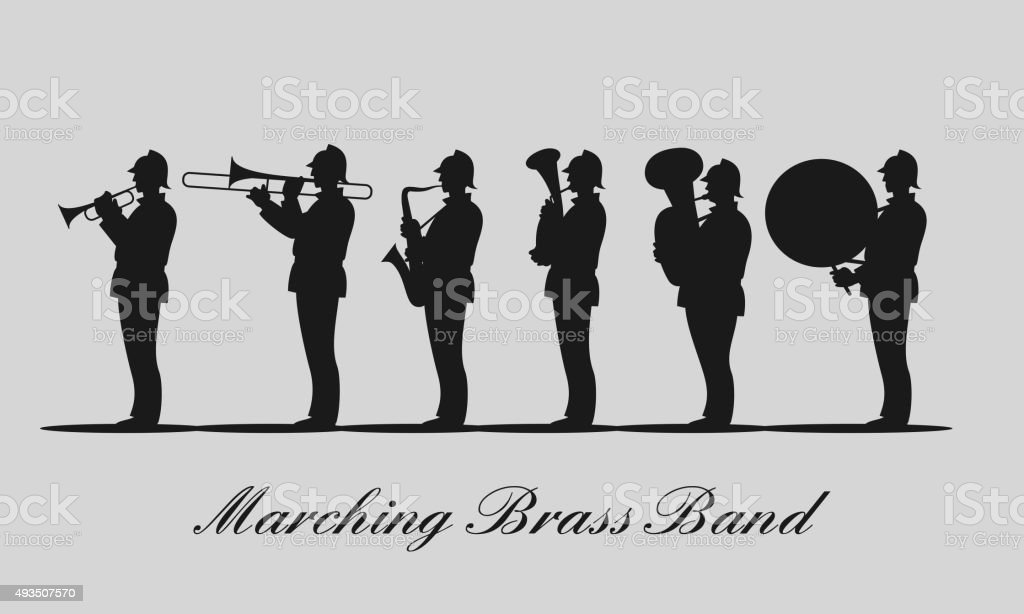 Marching brass band black vector silhouette vector art illustration