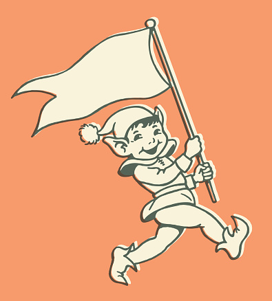Marching Elf with Flag