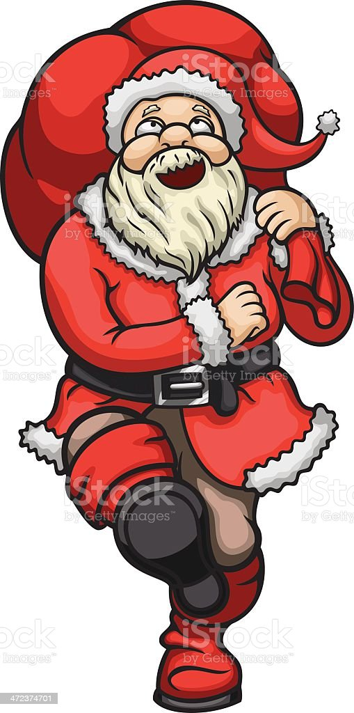 Marching Santa Claus with a bag royalty-free marching santa claus with a bag stock vector art & more images of adult