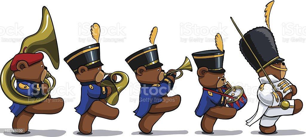Marching Teddy Bears royalty-free stock vector art