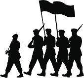 A silhouette of soldiers marching. Each soldier is a separate path.