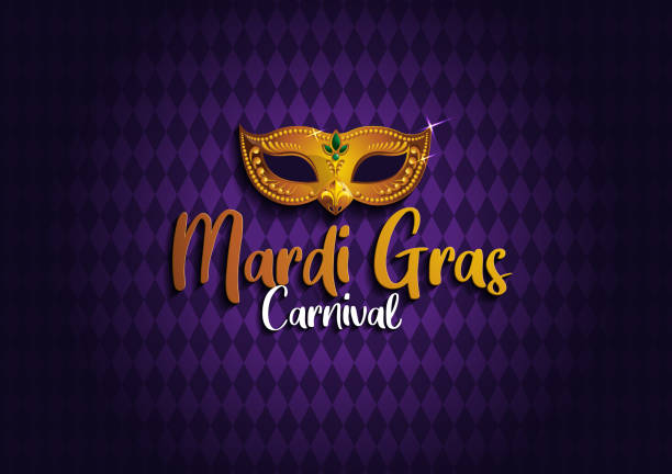 Mardi Gras 12 Mardi Gras Background with Golden mask, gretting card banner, poster,  template, Flyer & brochure, vector illustration, EPS10. mardi gras stock illustrations