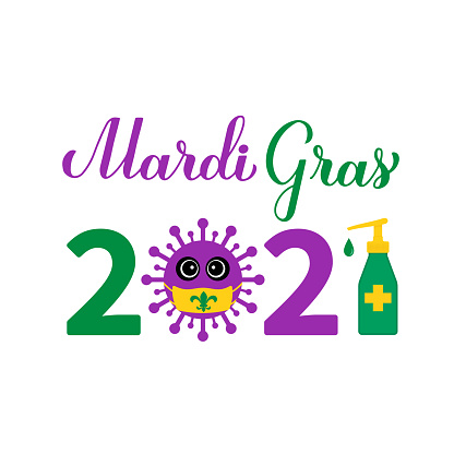 Mardi Gras 2021 calligraphy hand lettering with cute virus wearing mask. Fat Tuesday traditional carnival in New Orleans due covid pandemic. Vector template for banner, flyer, poster, sticker, etc