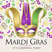 An invitation to events of Carnival celebration for the Mardi Gras with Jester Mask and elements on the background
