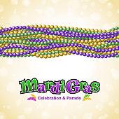 Mardi Gras bead border.