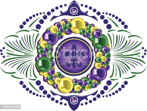 Mardi Gras colored beads and other ornate elements.