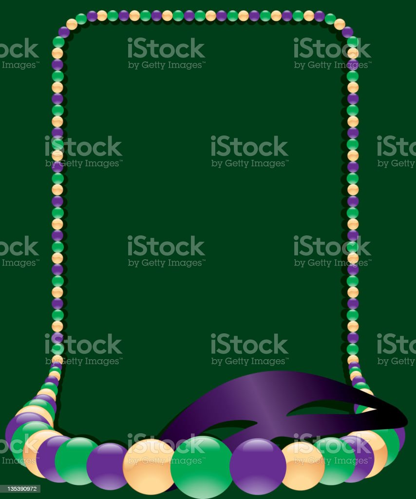Mardi Gras Beaded Necklace Frame and Mask royalty-free mardi gras beaded necklace frame and mask stock vector art & more images of amethyst