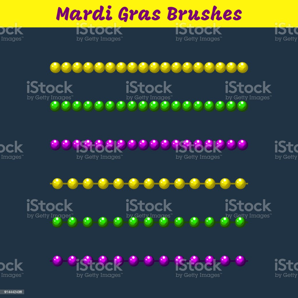 Mardi gras beads vector pattern brushes add-on vector art illustration