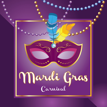 Mardi gras brochure. Vector logo with hand drawn lettering and golden tuesday mask. Greeting card with shining beads on traditional colors background - Vector
