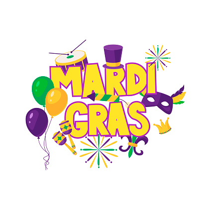 Mardi gras brochure. Vector logo with hand drawn lettering. Greeting card with shining beads on traditional colors background
