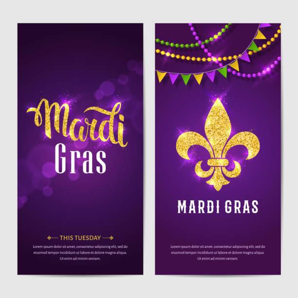 ilustraciones, imágenes clip art, dibujos animados e iconos de stock de folletos de mardi gras. - martes de carnaval