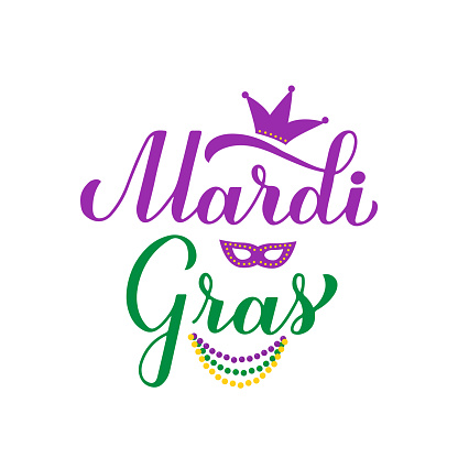 Mardi Gras calligraphy hand lettering with colorful beads, mask and crown. Fat Tuesday traditional carnival in New Orleans. Vector element of design for banner, flyer, party invitation, etc