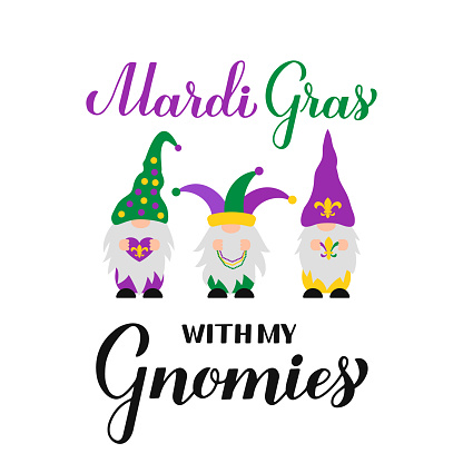 Mardi Gras calligraphy hand lettering with cute Nordic gnomes. Fat Tuesday traditional carnival in New Orleans. Vector template for banner, flyer, poster, t shirt, sticker, etc.