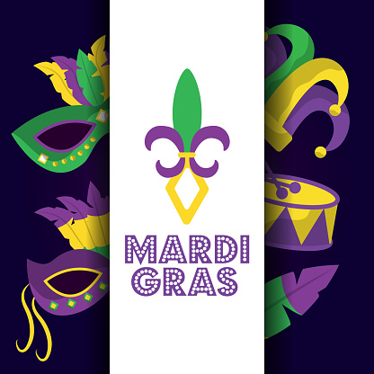 mardi gras card dot lettering flor de lis mask drum hat icons