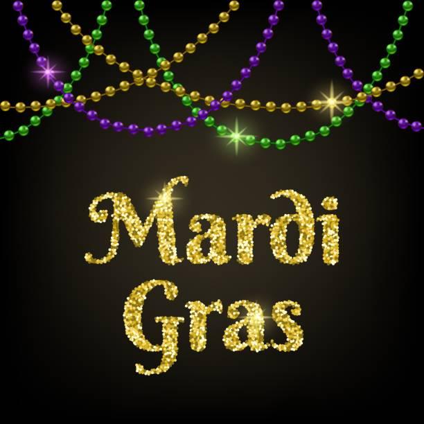 Mardi Gras card Mardi Gras card with shiny beads on black background bead stock illustrations