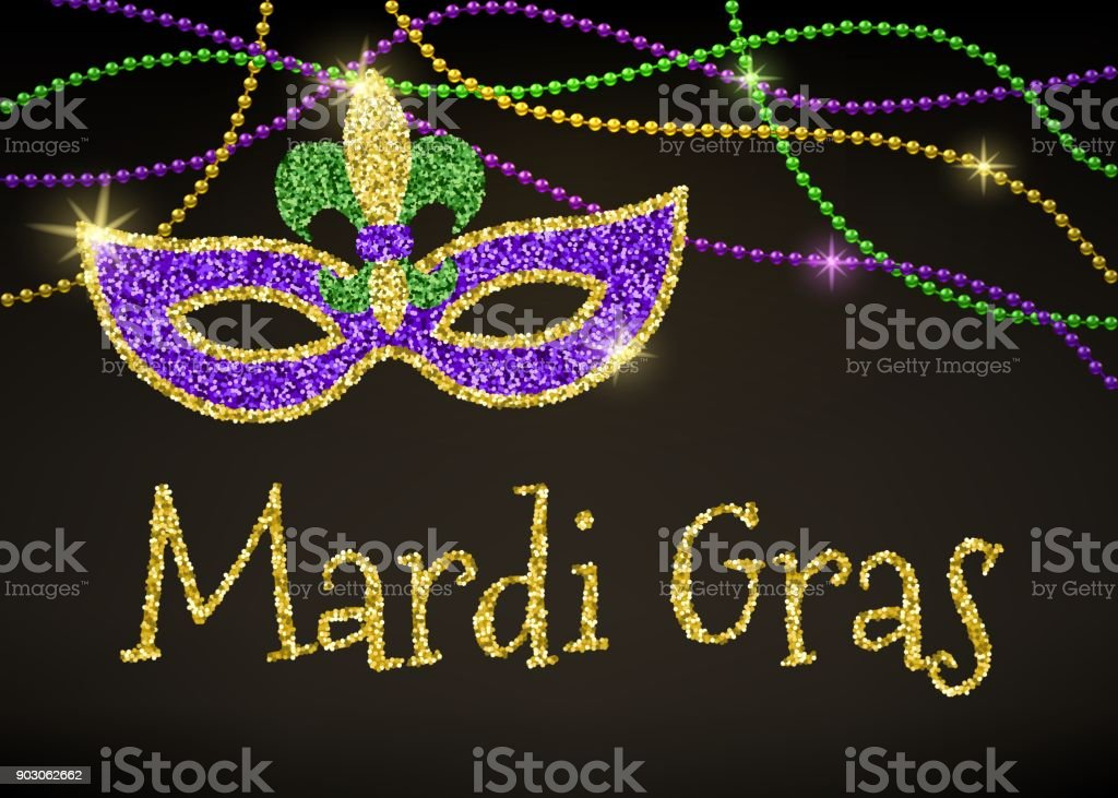 Mardi Gras card vector art illustration