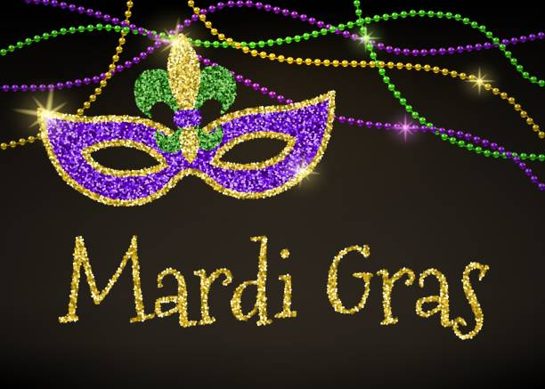 mardi gras card - mardi gras stock illustrations, clip art, cartoons, & icons