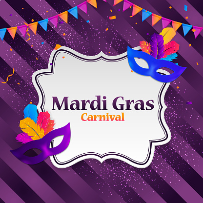Mardi Gras carnaval Background.Traditional mask with feathers and confetti for fesival, masquerade, parade.Template for design invitation,flyer, poste, banners. Vector Illustration EPS10