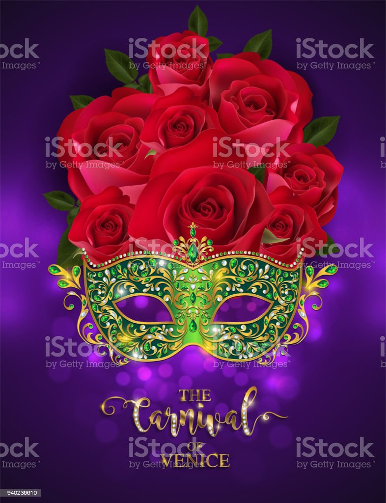 Mardi Gras Carnaval Golden Mask Patterned And Crystals On Paper ...