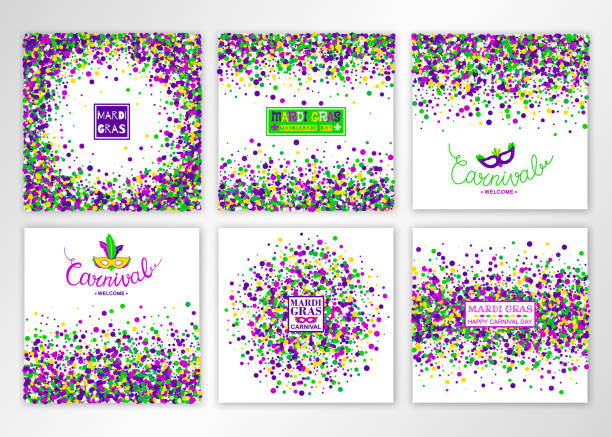 Mardi Gras Carnival background Set. Concept design kit in bright colors with masquerade mask. Vector illustration. Mardi Gras Carnival background Set. Concept design kit in bright colors with masquerade mask. Vector illustration. mardi gras stock illustrations