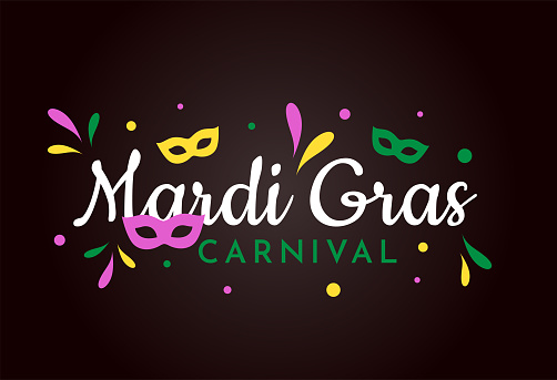 Mardi Gras Carnival background with masks. Vector