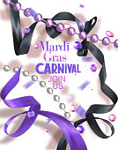 Mardi Gras carnival bammer with silk curly ribbons and necklaces and sequins. Vector illustration