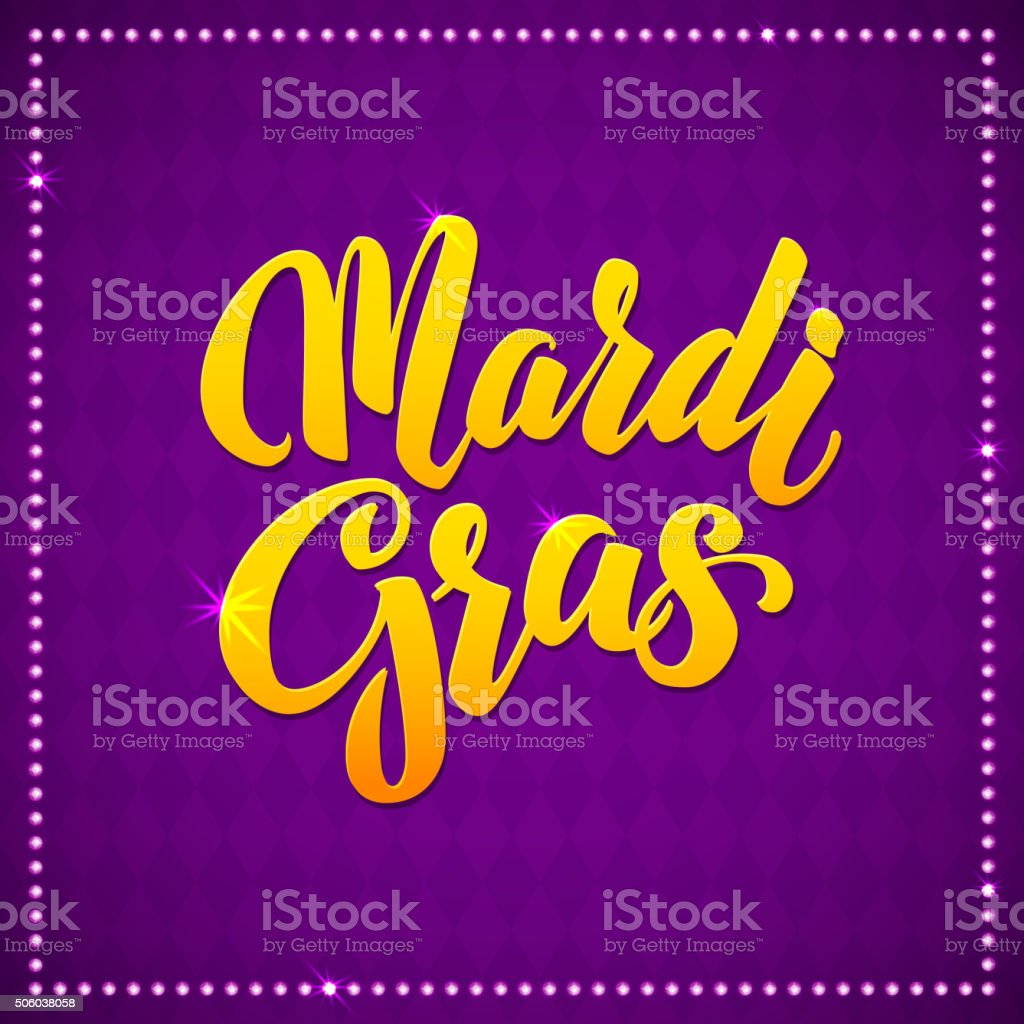 Mardi Gras Carnival Calligraphy Poster. Vector illustration Typographic Greeting card vector art illustration