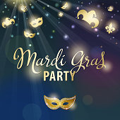An invitation to party of Carnival celebration for the Mardi Gras with glowing Fleur de Lis symbol, masquerade masks, jester hats and crowns flowing on the sky