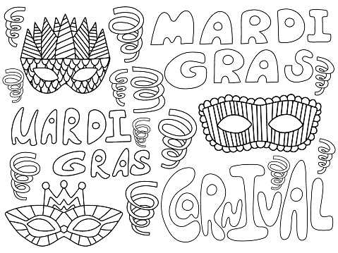 Mardi Gras carnival coloring page for kids and adults stock vector illustration