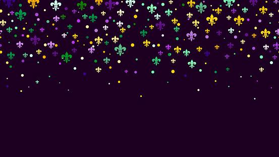 Mardi Gras carnival confetti seamless background