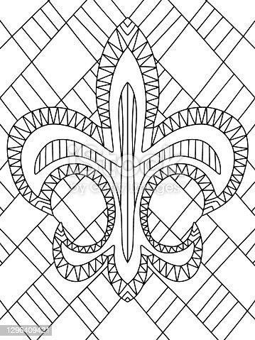 istock Mardi Gras Carnival Flower of lilies stock vector illustration 1296409421