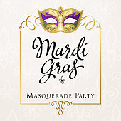 An invitation to the Mardi Gras Masquerade Party with mask and frame on fleur de lis background