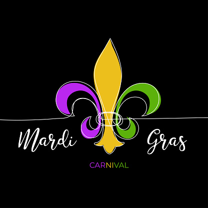 Mardi Gras carnival greeting card with traditional symbol of mardi gras - fleur de lis. Continuous line heraldic lily with color petal on black background. Fat tuesday New Orleans mardigras carnaval
