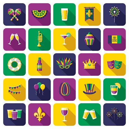Mardi Gras Carnival Icon Set