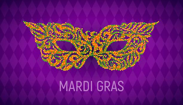 ilustraciones, imágenes clip art, dibujos animados e iconos de stock de mardi gras máscara de carnaval sobre fondo púrpura - martes de carnaval