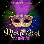 An invitation to the masquerade party for the Mardi Gras with feather carnival mask on the colorful light beam background