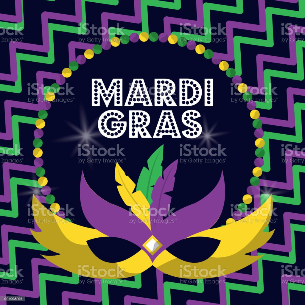 mardi gras carnival masks with feathers beads glowing design