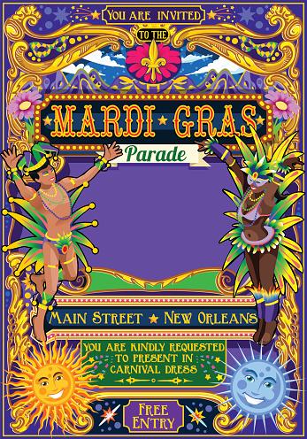 Mardi Gras Carnival Poster Illustration Carnival Mask Show Parade